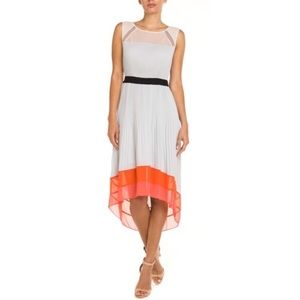 {BCBG MAX ARIA} high low grey and orange dress
